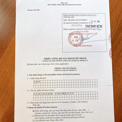 Sen Cleanser sản phẩm được Bộ Y Tế cấp phép lưu hành