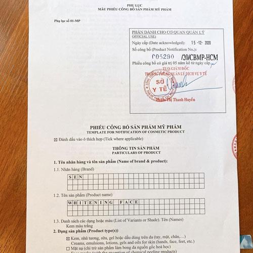 Sen Face sản phẩm được Bộ Y Tế cấp phép lưu hành