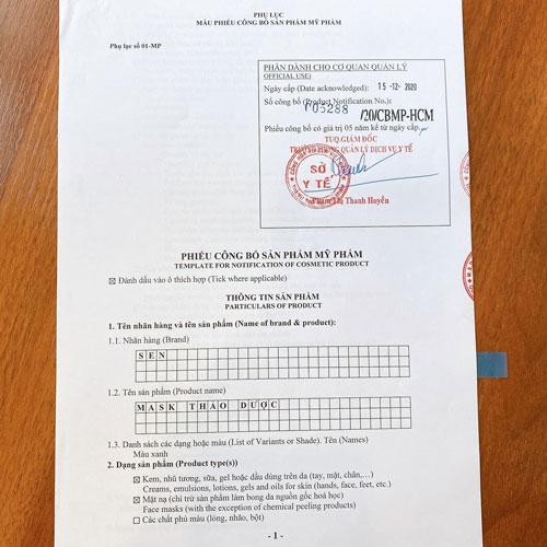 Mask trị liệu Sen sản phẩm được Bộ Y Tế cấp phép lưu hành