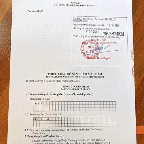 Serum Sen sản phẩm được Bộ Y Tế cấp phép lưu hành