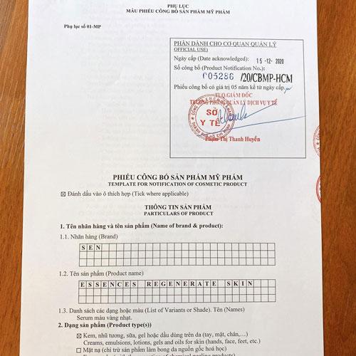 Tinh chất tái tạo da Sen sản phẩm được Bộ Y Tế cấp phép lưu hành